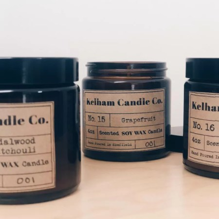 Grapefruit scented soy wax candle jar with Kelham Candle Co hand made in Sheffield label