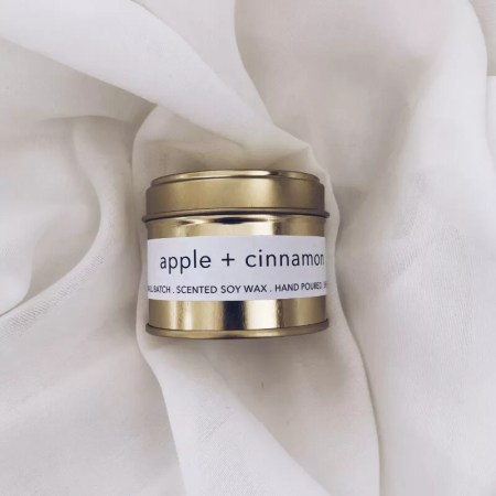 Apple and Cinnamon scented soy wax candle tin with Kelham Candle Co hand made in Sheffield label