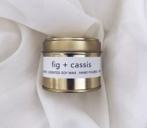 Fig scented soy wax candle tin with Kelham Candle Co hand made in Sheffield label