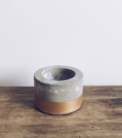 Gold Base Concrete Tealight Holder
