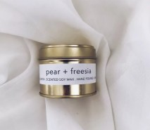 Pear and Freesia scented soy wax candle tin with Kelham Candle Co hand made in Sheffield label