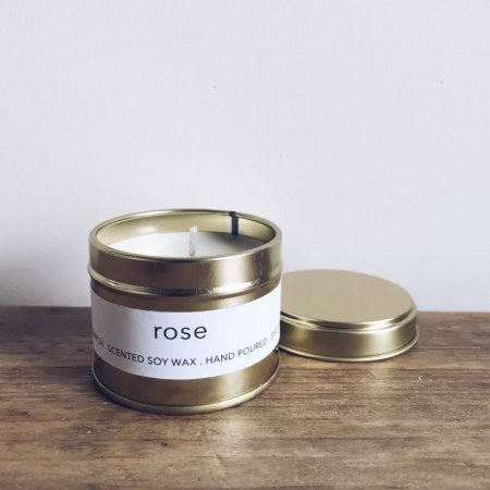 Rose scented soy wax candle tin with Kelham Candle Co hand made in Sheffield label