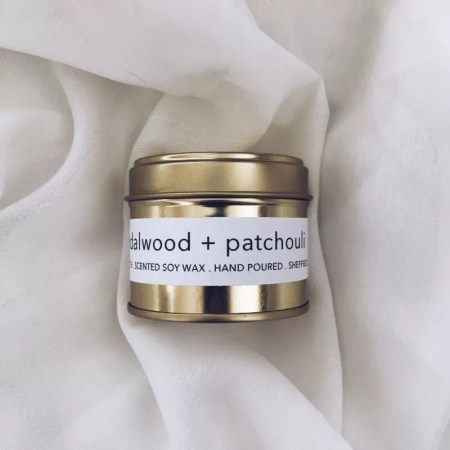 Sandalwood and Patchouli scented soy wax candle tin with Kelham Candle Co hand made in Sheffield label