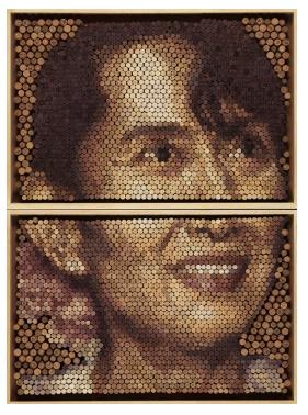 Conrad Engelhardt, 'Aung Sang Suu Kyi', 2013, natural stained cork on board. Image courtesy ThreadneedlePrize.com