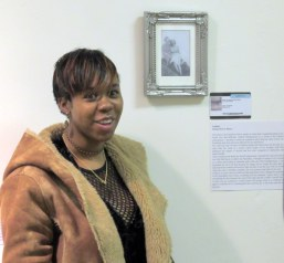 Xilesia Dwyer Henry talks about her work, untitled, in 'Identity' at AWAH, Altrincham, Manchester. Photo credit Rebecca Wild.