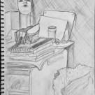 Me in Giacometti's studio drawing with self-portrait 1927 #365LoveNotesToSelf Day 124, graphite