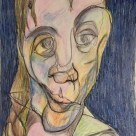 Me as Francis Bacon 1975 (and a bit of a headache) #364LoveNotesToSelf Day 134, ink and coloured pencil