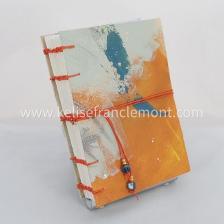 handsewn journal, exposed stitch binding, abstract, orange, greens, teal; orange cord closure with beads
