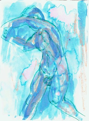 Posing nude (male 4), 2016, ink on paper, 5 x 7 inches.