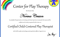 Norma Cruson, Certified Child Centered Play Therapist | Official Certificate from the Center for Play Therapy