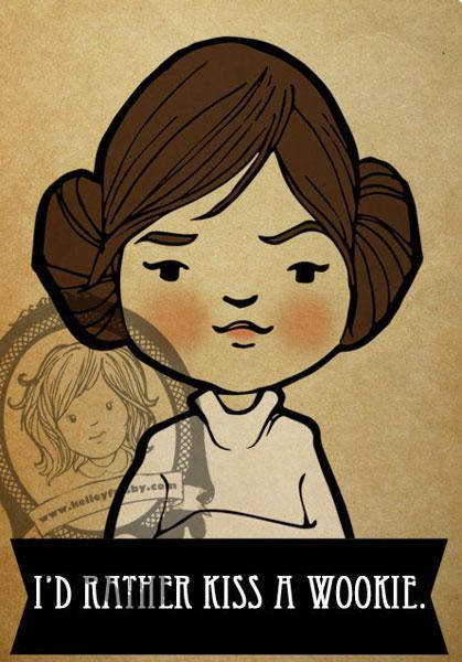 "Kelley Frisby illustration vintage inspried star wars fan art ""Princess Leia"""