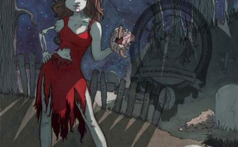 """Kelley Frisby illustration Into The Pixel art submission """"Exhumed"""" zombie pinup"""