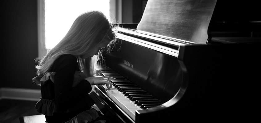 Gril Playing Piano Backlit | Kelley K Photography