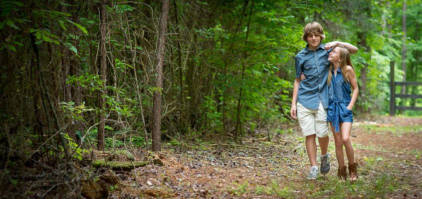 Siblings on Nature Walk | Kelley K Photography