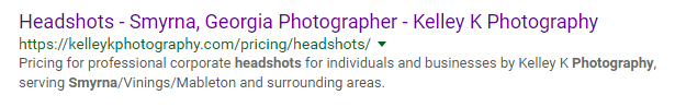 Search Engine results page for Kelley K Photography