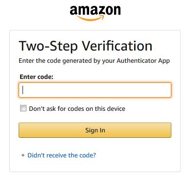 Amazon.com Two-Step Verification window