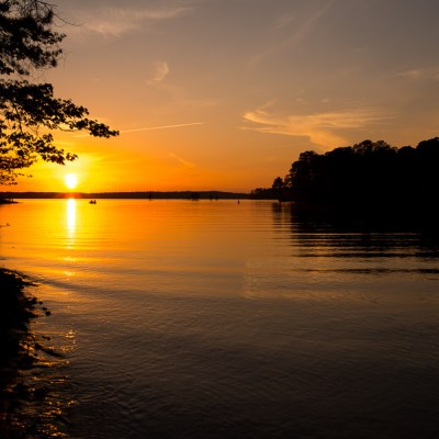 Landscape photo of sunset over lake over West Point Lake