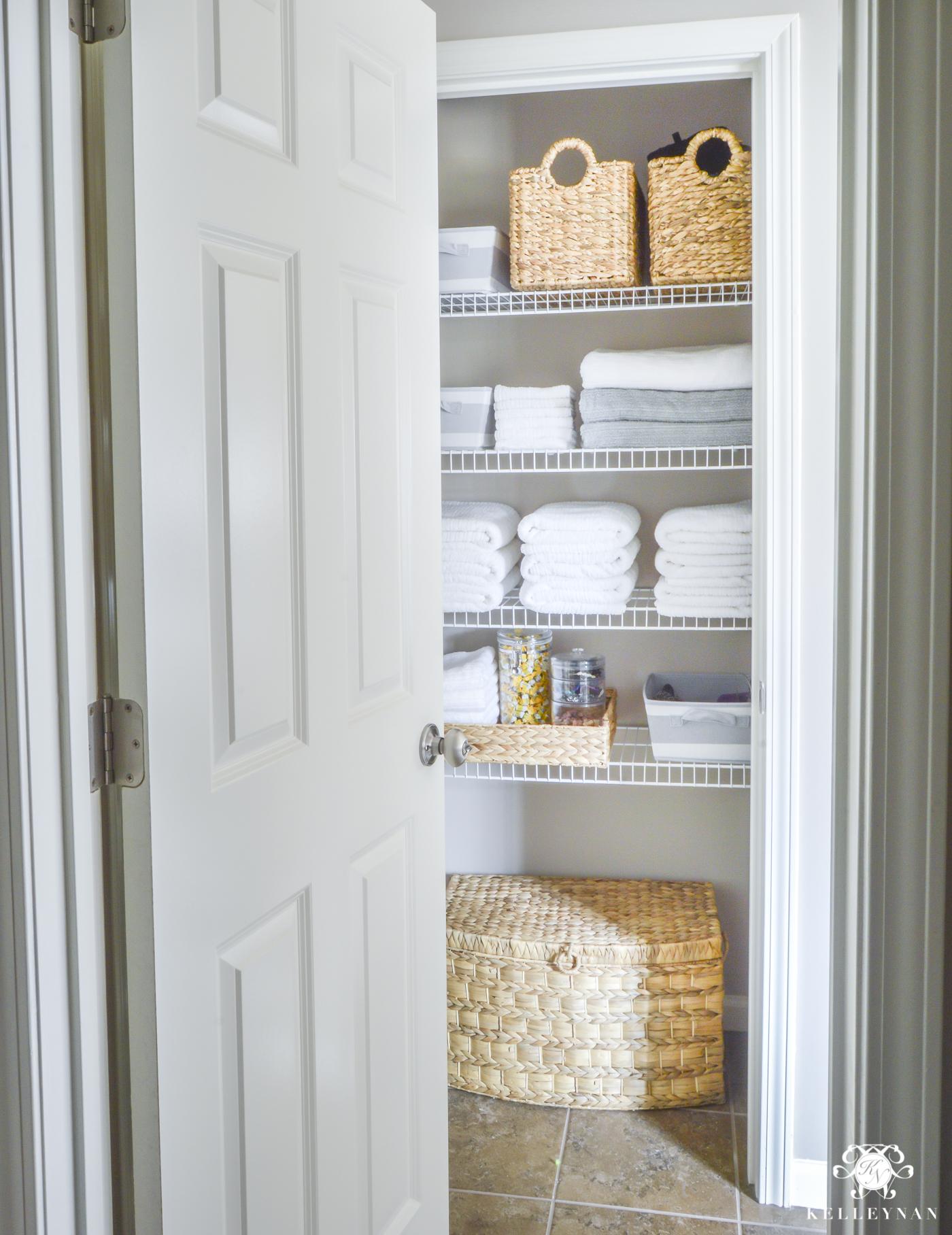 Organized Bathroom Linen Closet Anyone Can Have Kelley Nan