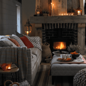Warm Glow of A Fireplace