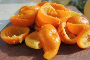 hulled out cooked seville oranges