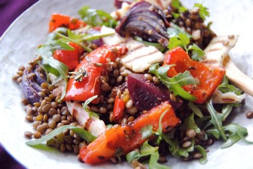 plated roasted beetroot, pepper andlentil salad