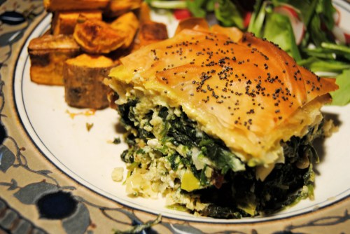 spinach pie on plate