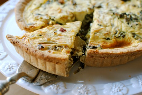 serving 1 slice from whole bitter greens tart