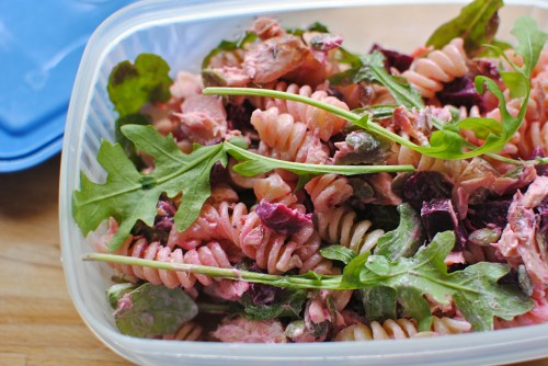salmon and beetroot pasta