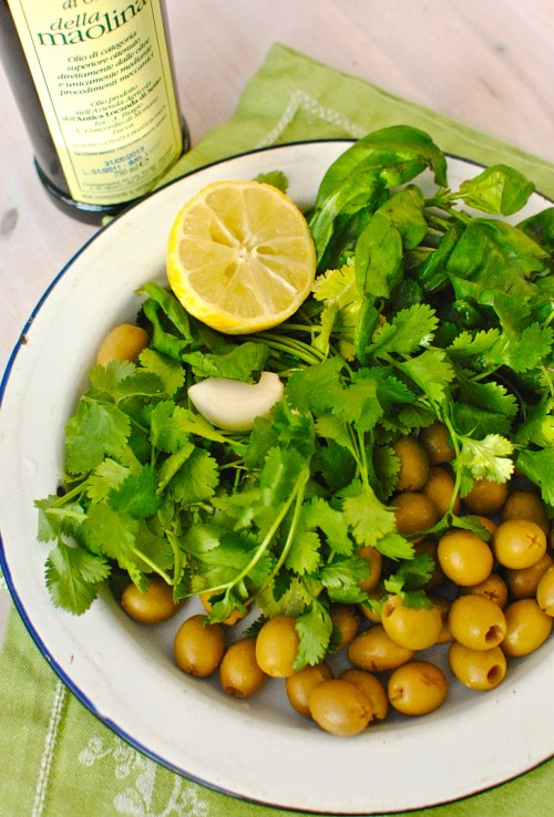 coriander and green olive tapenade