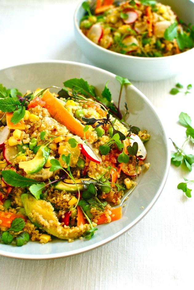 citrus quinoa bowl with avocado and edamame