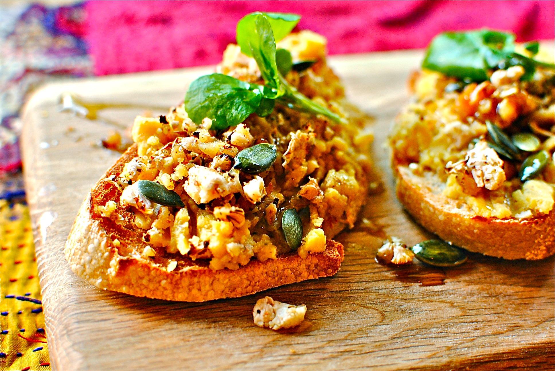 Roasted Pumpkin Hummus With Cauliflower And Walnut Crumble Gf Df Food To Glow