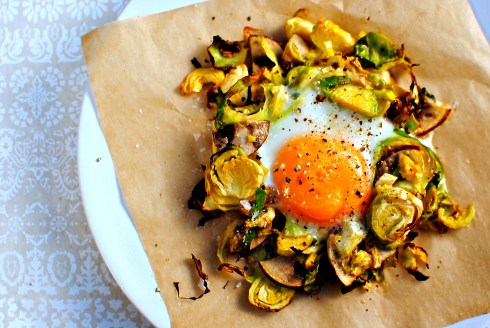 baked egg and vegetable nests