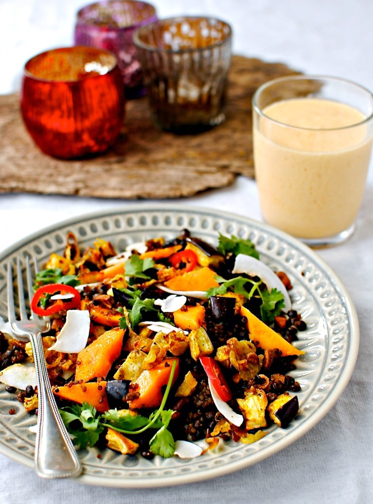 mango, quinoa and lentil salad by food to glow