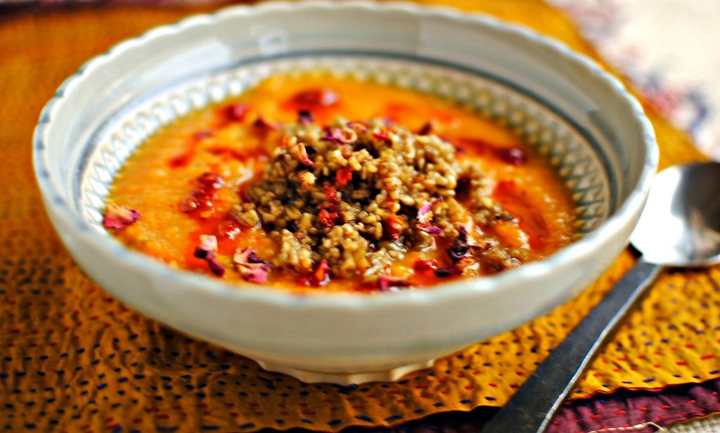 harissa-spiced squash and celeriac soup with freekeh // food to glow