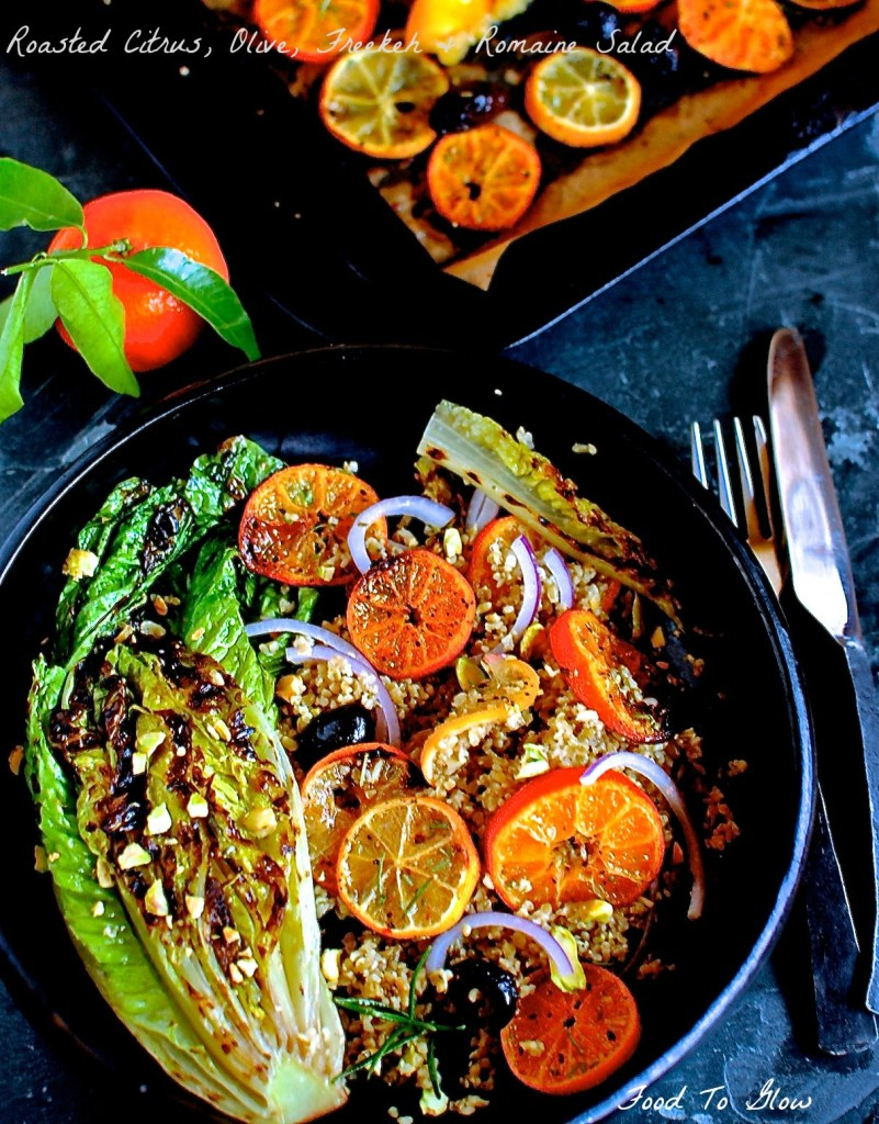 roasted-citrus-olive-freekeh-salad by food to glow
