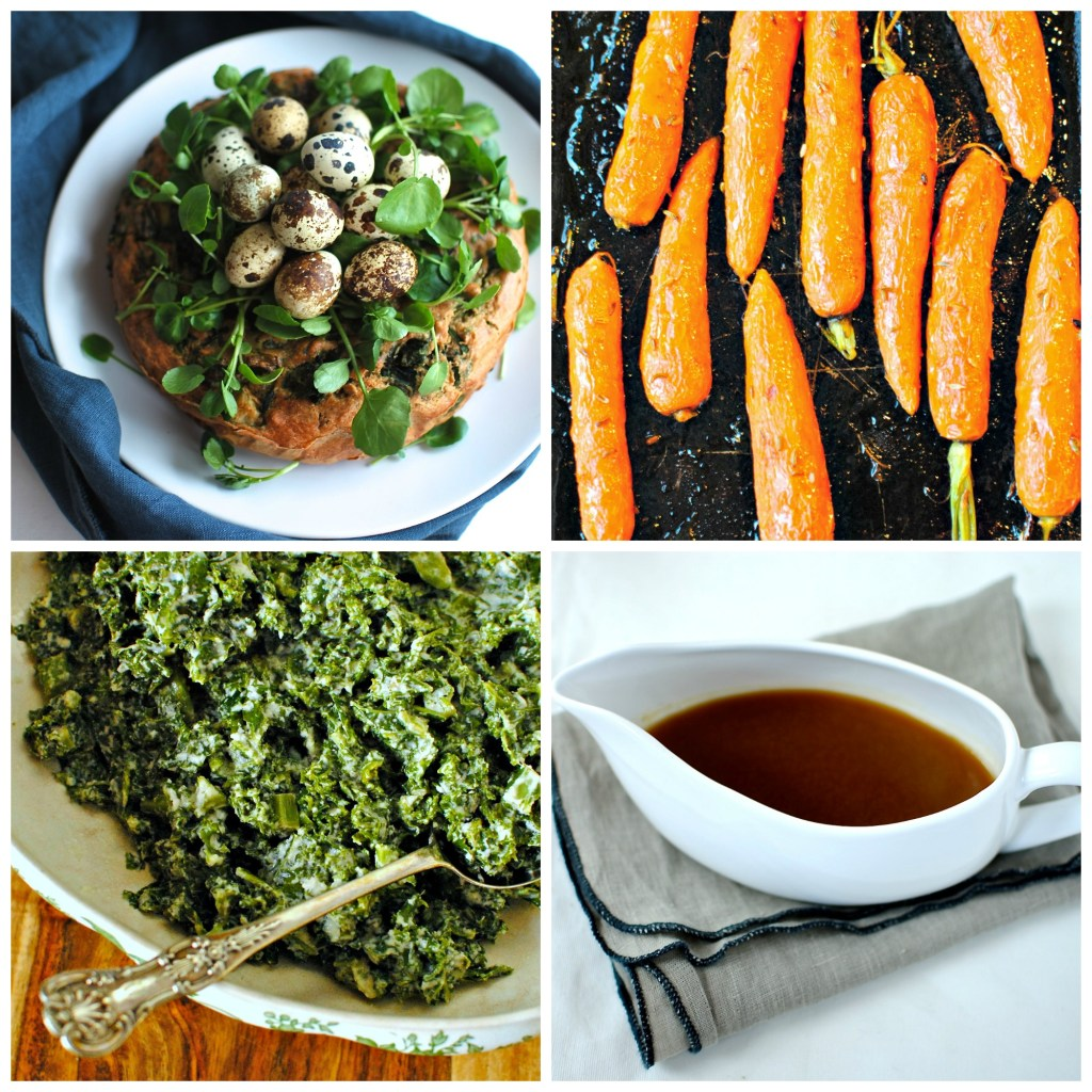 The rest of the Easter menu:  savoury vegetable cake, maple & fennel roasted carrots, creamed kale, spring onion gravy