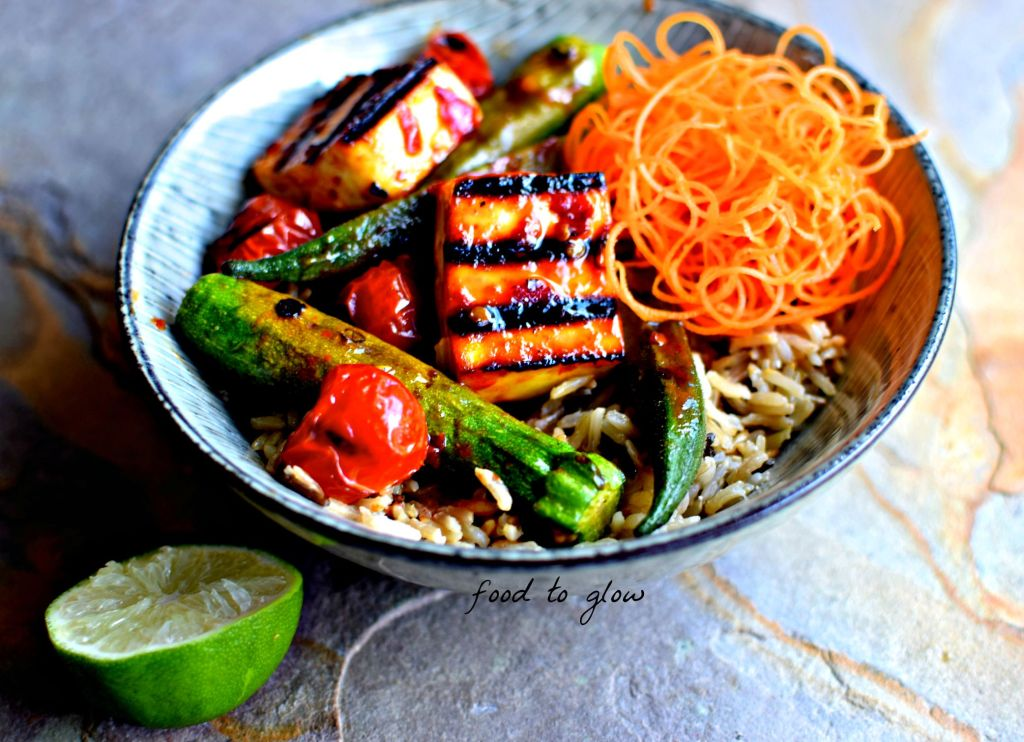 malaysian paneer & vegetable kebabs with brown coconut rice // food to glow