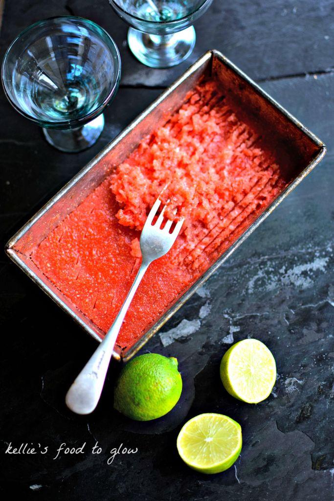 watermelon & lime granita with chia seeds // food to glow