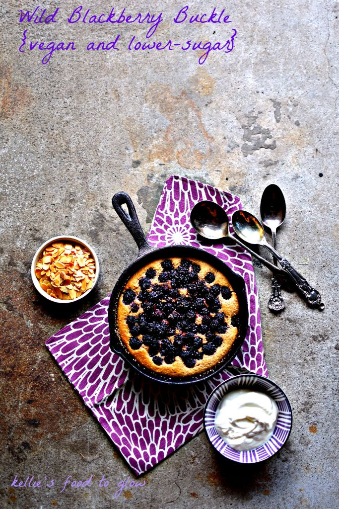 This berry-studded, nutritious dessert (yes!) is a lower-fat and lower-sugar but completely delicious redux of an American classic, blackberry buckle. Think cardamom-scented batter loaded with deeply fragrant and juicy berries.. As it bakes in a minimal amount of butter it rises and, buckles and forms a delectable crust. Enjoy warm with custard or ice cream, or even cold for a fun breakfast.
