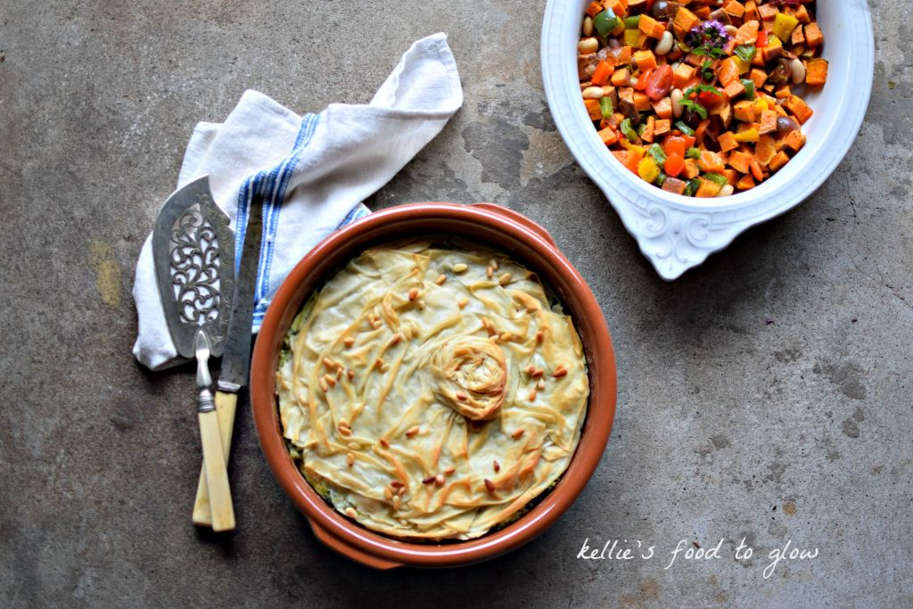 An easy, feta cheesy, green vegetable pie that is super easy to make, so is great for any day of the week. Nice warm or cold (perfect for lunch boxes), and easily made egg-free. I have been making versions of this pie for over 20 years, but love it best with the addition of wholesome and textural brown basmati and wild rice.