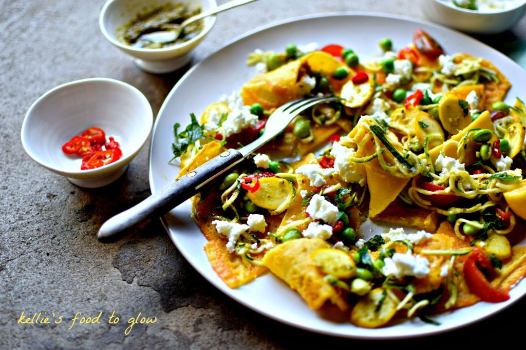 This light and fresh open style lasagne ditches the pasta for easy, home-made chickpea pancakes, folding slices around thinly sliced fresh vegetables, pesto and goats cheese. Easy enough for a weeknight and impressive enough for company as a starter or a main course. Naturally gluten-free and easily vegan.