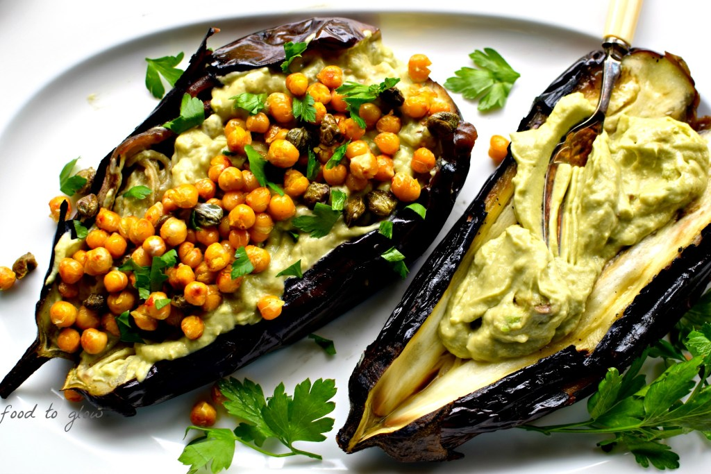 burnt aubergine, avocado-tahini sauce, and fried chickpeas and capers
