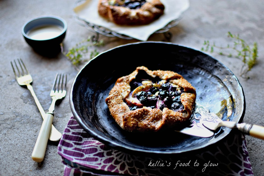 This easy to make, light as a feather spelt pie crust dough is the perfect beginner's baking recipe. Filled with blueberries, peaches and complementing goat's cheese make it sophisticated enough for company too.