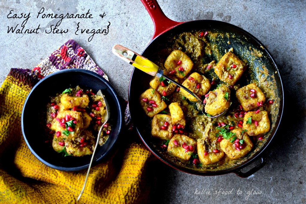 Easy pomegranate and walnut stew - a vegan, Persian one-pot wonder using tofu in place of traditional chicken and spelt couscous to make it a complete meal for four. You could also use sustainable, white fish as an alternative.
