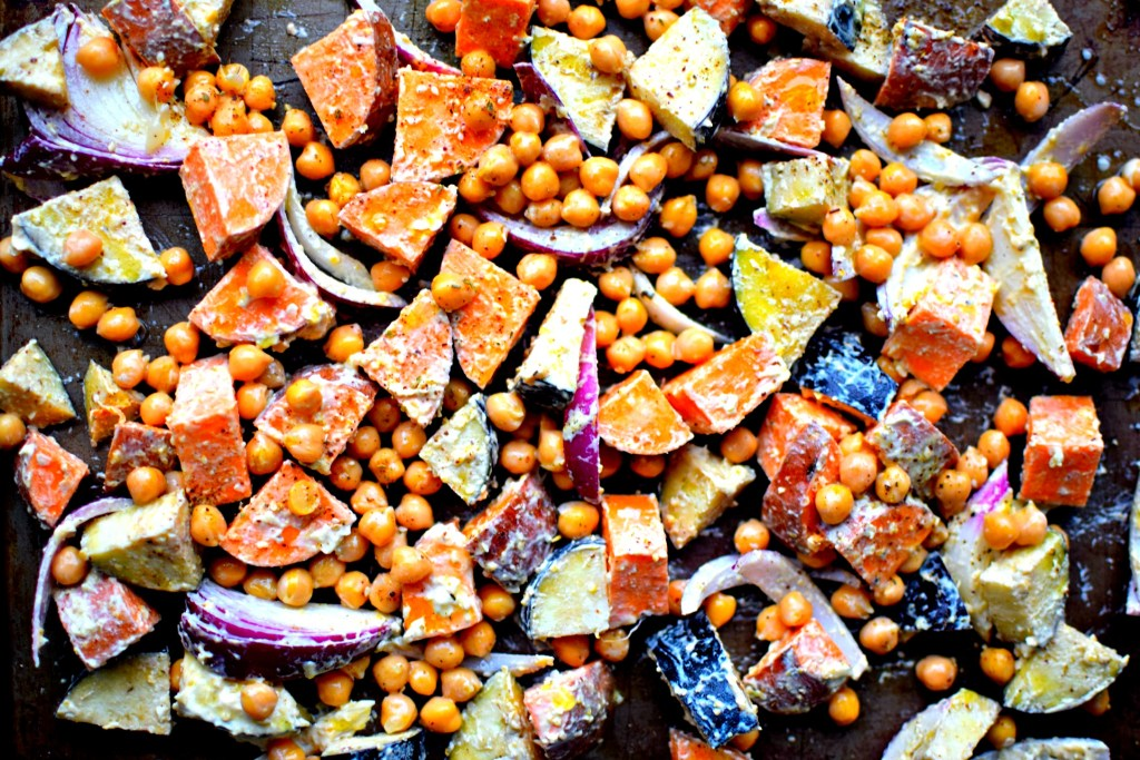 Hummus-Roasted Vegetables and Chickpeas with Za'atar and Pomegranate