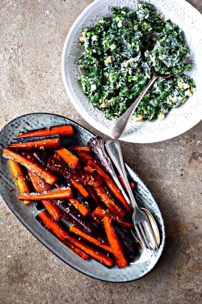 creamed kale + fennel and maple carrots