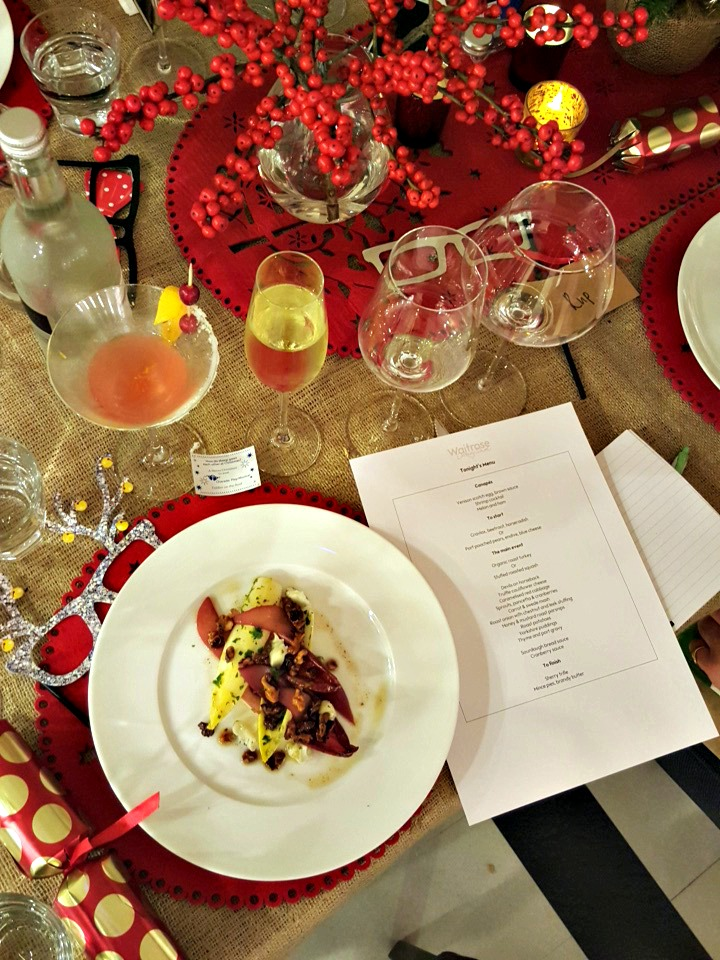 Port poached pear, endive & blue cheese starter at the Waitrose #MakesChristmas launch