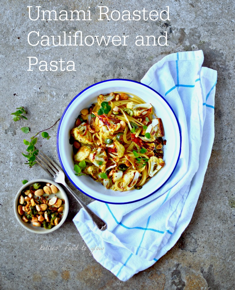 Cauliflower roasted in a surprisingly easy marinade and topped with pan-fried almonds, green olives and chilli flakes makes for a simple, vegan and healthy midweek pasta supper for 2.
