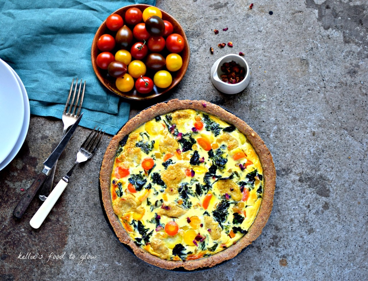 Using a combination of quality fresh, store cupboard and frozen ingredients this colourful kale, rainbow carrot and hummus tart is my idea of comfort food heaven. While it isn't quite a quick meal, it is incredibly easy.