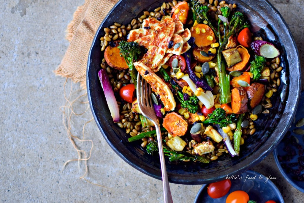 Any easy way to get your five-a-day in one hearty bowl - a rainbow of colourful vegetables + healthy freekeh and delicious pan-fried chilli halloumi. Oh, and a knockout South American-inspired dressing. Makes great leftovers too. A proper meal salad for lunch or dinner.